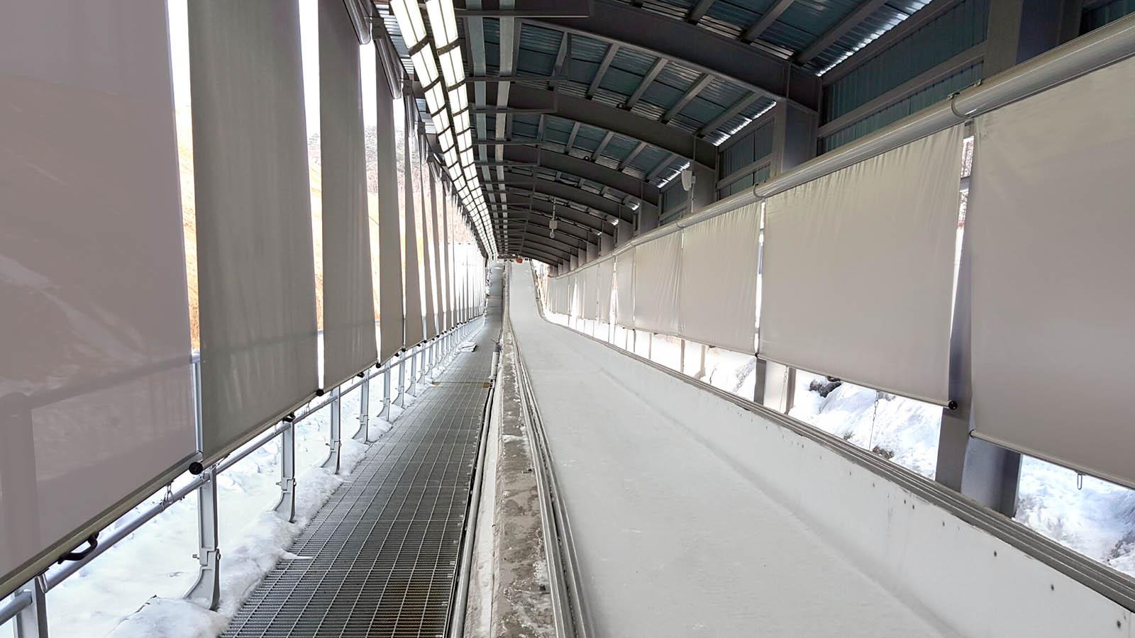 vista intewrna di un rettilineo della pista da Bob in Alpensia Pyeonchang
